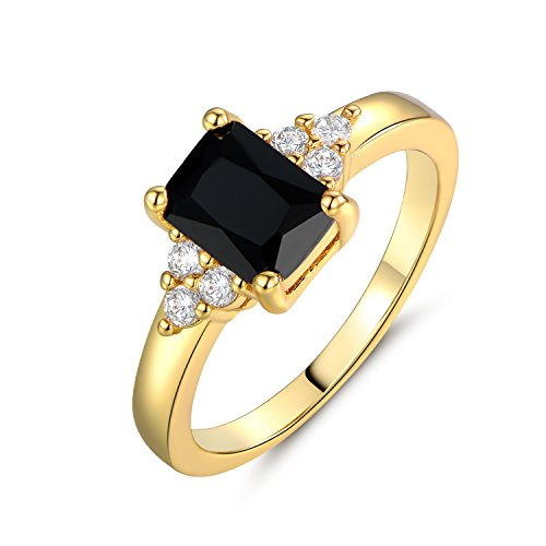 MSPV Rectangle Black Crystal Party Rings for Women Gold Tone Fashion Jewelry Size 7