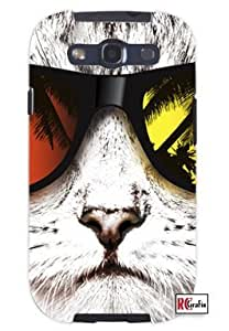 Hipster Cat with Beach Shades Unique Quality Soft Rubber TPU Case for Samsung Galaxy S3 SIII i9300 - White Case by lolosakes