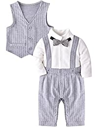ZOEREA Baby Boy Gentleman Rompers Striped Toddler Suit 2pcs Outfit Wedding