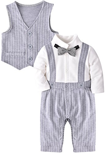 ZOEREA Baby Boy Gentleman Rompers Striped Toddler Suit 2pcs Outfit Wedding (Label 80/Age 9-12 Months, Grey (Boy Wedding)