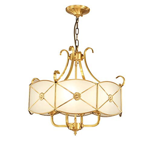 Ceiling Light Brass Metal Frosted Glass Shade Ceiling Light Fixture Rustic Ceiling Hanging Lamp for Living Room, Bedroom, Dining Room, D20.4''H18.8''