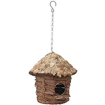 Verdemax, caseta redonda con tejado recubierto de hojas, para aves silvestres, 5739: Amazon.es: Jardín