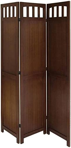 Legacy Decor 3 Panel Solid Wood Folding Room Screen Dividers Walnut