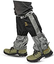 Hmseng Waterproof Leg Gaiters with Zipper for Climbing , Adjustable Snow Boot Gaiters, Oxford Gaiters for Hiki