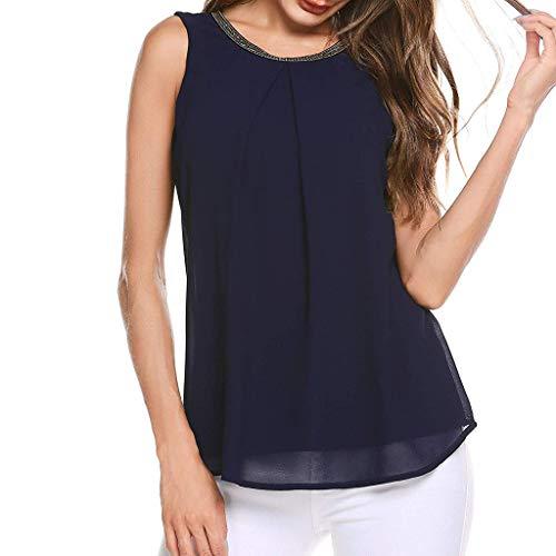 Yezijin_Women's Wear Fashion Women O-Neck Sleeveless Appliques Design Chiffon Patchwork Tank Top 2019 Women Long/Short Sleeve Navy ()