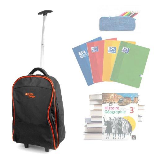 Cartable à roulettes / Trolley durable avec poignée de traction et poche frontale pour vos cahiers, manuels scolaires, netbook et fournitures pour l'école - idéal pour la rentrée