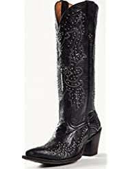 Johnny Ringo Women's Studded Western Boots Barsalone Black Leather JRS806-8X