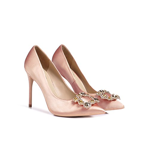 Tacones Zapatos Señora Nupcial De Estrecha ZPFME 225 Clásico Punta EU35 Bombas 10CM Mujer Seda Inteligente Champagne Altos Noche qxFIxd0w