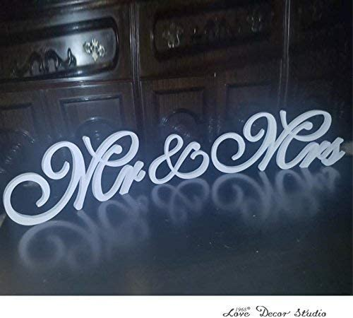 Amajoy Large White Wooden MR /& MRS Wedding Sign for Beach Wedding Elegant.. New