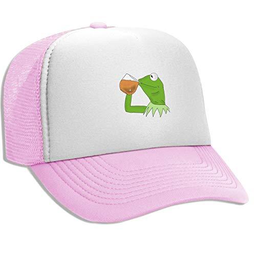 Dansony Unisex Adult Trucker Hat Kermit The Frog Sipping Tea Adjustable Mesh Cap Baseball Cap Pink