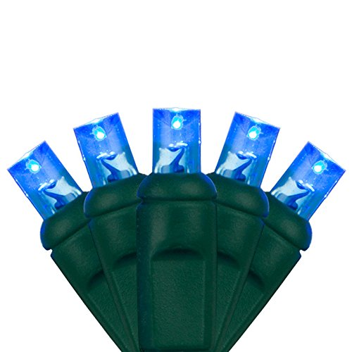 Led Mini Ice (Holiday Lighting Outlet 5MM 50-Count LED Blue Indoor/Outdoor Mini Light String For Christmas, Holiday, Event, Party, Tree, and Lawn Lighting, Green Cord, UL Listed.)