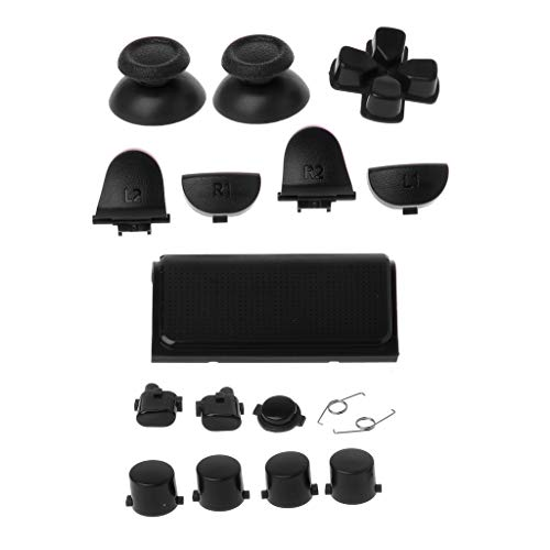 BOying Plastic Button Replacements Kits for Playstation 4 Dualshock 4 PS4 PRO Controller JDM JDS 040 R2 L2 R1 L1 (Black)