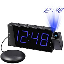 Mesqool Projection Clock with Bed Shaker Alarm, Loud Alarm Sound & Vibrating Projector Clock for Heavy Sleepers, 7 LED Display & Dimmer,12/24H, DST, USB Charger, Battery Backup for Bedrooms, Ceiling