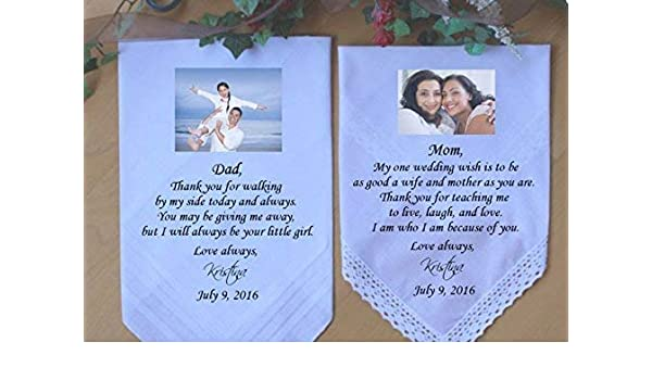 3 Personalised Wedding Handkerchief Father Mother of the Bride to be Favour Gift