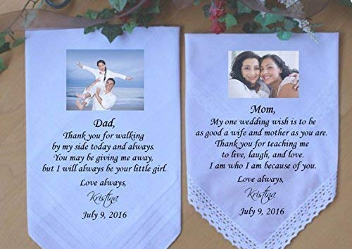 Amazon com: Custom PHOTO-Mother of the Bride handkerchief