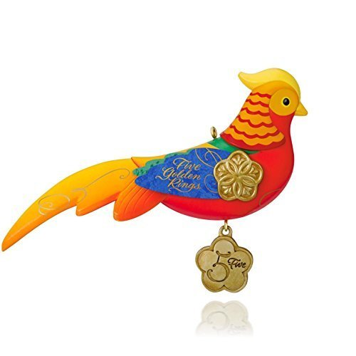 Hallmark QX9179 12 Days of Christmas Five Golden Rings Pheasant Ornament ()