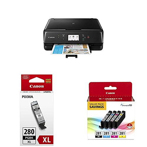 Canon TS6120 Wireless AIO Printer, Black with PGI-280XL and CLI-281 4 Pack by Canon