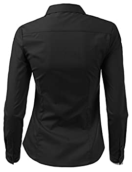 Doublju Womens Slim Fit Plain Classic Long Sleeve Button Down Collar Shirt Blouse Black Large 2