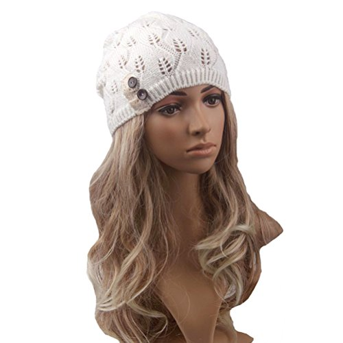 Tinksky Women Winter Warm Knit Hat Snow Ski Caps Lace Button Leaves Hollow Out Knitting Hat (White)