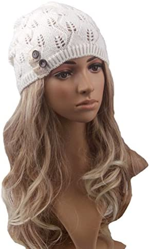 368fb3ed8c92b Tinksky Women Winter Warm Knit Hat Snow Ski Caps Lace Button Leaves Hollow  Out Knitting Hat