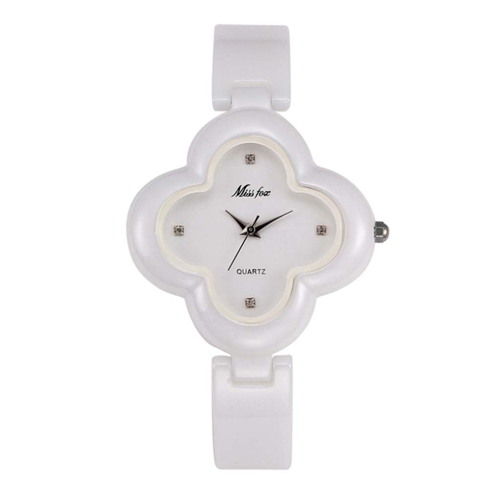 Estelle-tong Ceramic Quartz Watch Student Simple Fashion Watch Four-Leaf Clover Petal Shape Waterproof Girl Birthday Graduation Ceremony Party,Awhite