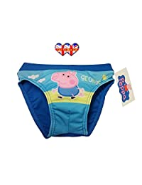 Peppa Pig Boys Swimming Shorts, George Pig Trunks, Boys Swimwear (2,3,4,5,6 Years)