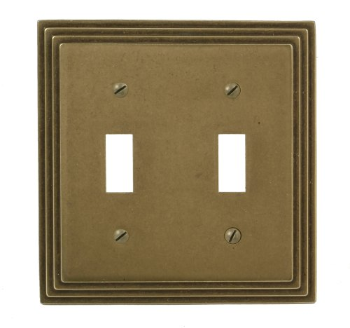 Amerelle 84TTRB Steps Double Toggle Wallplate, Rustic Brass