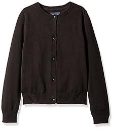 The Children\'s Place Big Girls\' Uniform Cardigan Sweater, Black, Medium/7/8