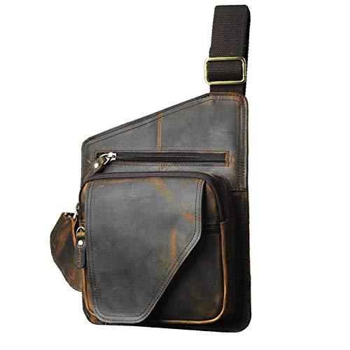 - Le'aokuu Mens Fashion Casual Tea Saddle Sling Bag Designer Treasure Mini Best Travel Hiking Crossbody Chest Bag Rig One Shoulder Strap Bag Daypack For Men Leather (214 dark brown 2)