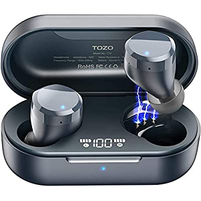 TOZO T12 Wireless Earbuds Bluetooth Headphones Premium Fidelity Sound Quality Wireless Charging Case Digital LED…
