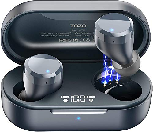 TOZO T12 Wireless Earbuds Bluetooth Headphones HiFi Sound Quality and Wireless Charging Case Digital Intelligence LED Display IPX8 Waterproof Earphones Built-in Mic Headset Deep Bass for Sport Blue