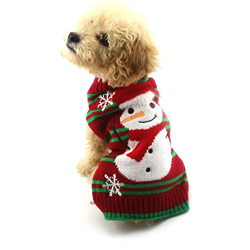 [DEESEE(TM) Christmas Pet Dog Christmas Snowman Clothes Puppy Winter Sweater Costume Coat (S)] (Dog Outfits For Christmas)