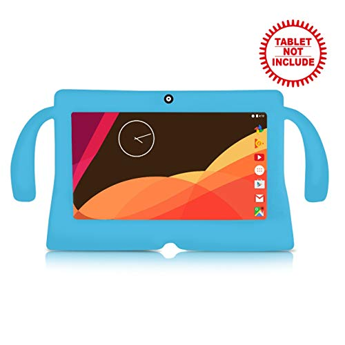 "iNoni Kid-Proof Case for iNoni Kids Tablet 7"" Inch Shockproof Silicone Handle Stand Protective Cover (Blue)"