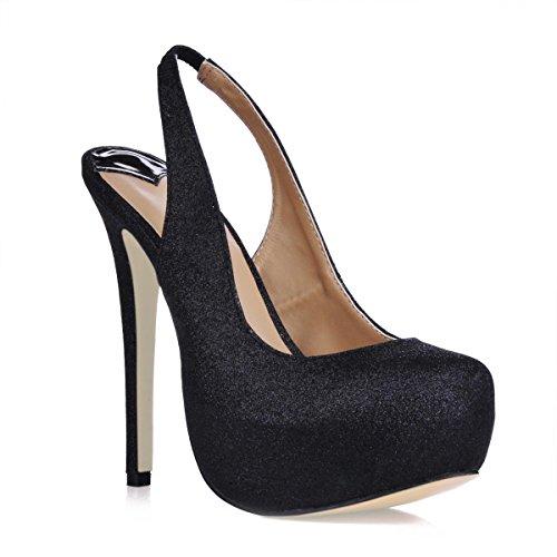 Best Slingback Color Bling 4U Toe Summer Spring Heel Shoes Black Round Women's Rubber High Stiletto 10CM Sandal Sole Solid 44wrqATZ6x