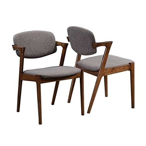 Cheap Malone Dining Side Chairs Grey and Dark Walnut (Set of 2)