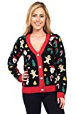 Women's Cookie Cutter Ugly Christmas Sweater – Cute Christmas Cardigan Female: Small Black