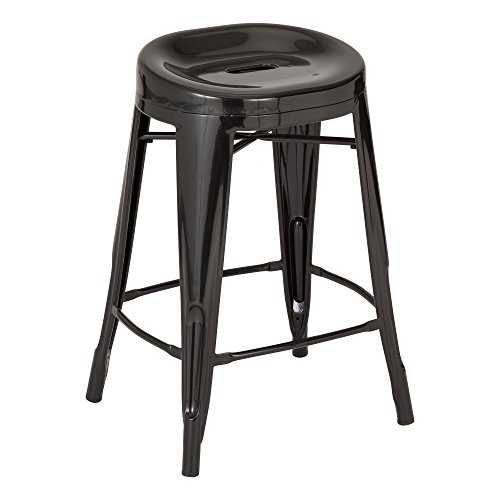 Fat Catalog ALT-XUW-1001BK Modern Industrial Metal Bar Stools w/ Curved Seat, 24'' Height, 14.2'' Wide, 17.32'' Length, Black (Pack of 2) by Fat Catalog