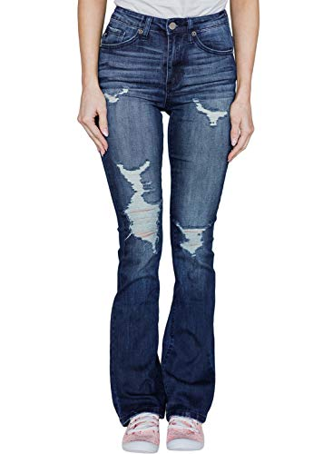 Aleumdr Women's High Rise Baby Bootcut Pull-on Classic Ripped Stretch Denim Boot Cut Jeans Size M Dark Blue