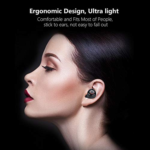 Bluetooth Earbuds, Wireless Earbuds IPX7 Waterproof Bluetooth Headset for Cell Phones 90H Playtime with 2200mAh Charging Case Built-in Mic HD Stereo Sound,Noise Canceling for Workout,Sport (Black)
