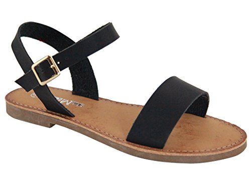 Anna Open Toe Sandali Flat Gladiator A Fascia Nera Pu