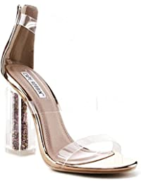 Maria-7 Lucite Clear Perspex Glitter Block Heel Open Peep Toe Sandal Shoe Rose Gold