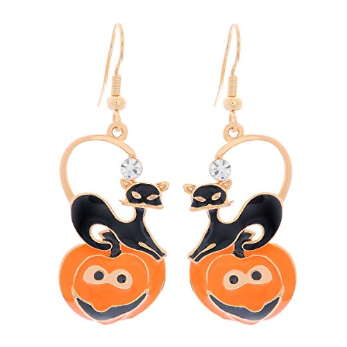MJARTORIA Women's Halloween Enamel Pumpkin Black Cat Rhinestone Hook Dangle Earrings for Pierced (Woman Halloween)