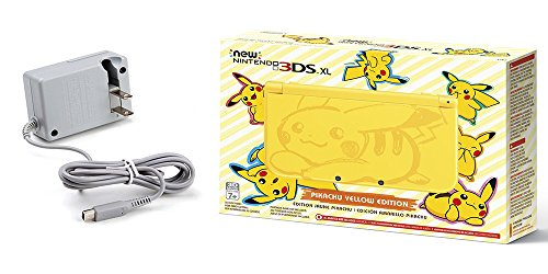 Nintendo 3DS XL Bundle: Nintendo New 3DS XL - Pikachu Yellow Edition and Tomee AC Adapter