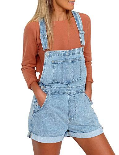 (Vetinee Women's Light Blue Classic Adjustable Straps Cuffed Hem Denim Bib Overall Shorts Medium (US 8-10))