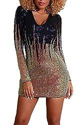 Off Shoulder Black & Gold Sequin Dress Deep V Neck & Long Sleeve