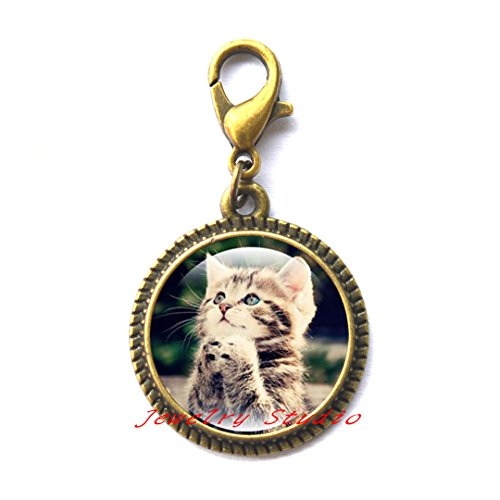 Charming Fashion Zipper Pull,Praying Cat Charm Zipper Pull