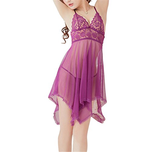 Joker Costumes Union Suit (Robert Westbrook Women Sexy Lingerie Lace Mesh V Neck Strap Perspective Nightwear Dress G String Sleepwear T Back Costumes Purple One Size)
