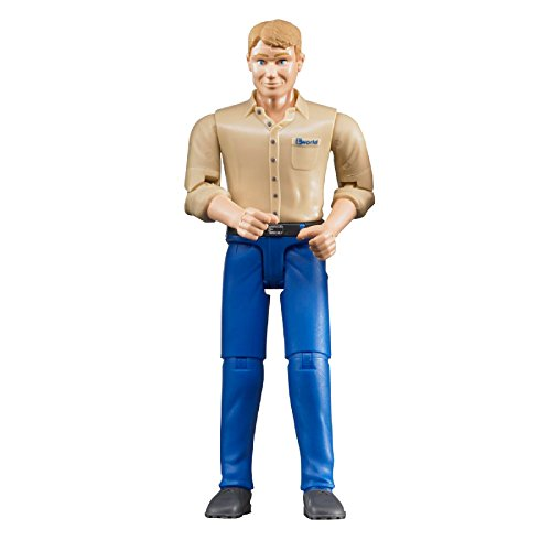 Bruder Man with Light Skin/Blue Jeans Toy Figure (Blue Figure Toy)