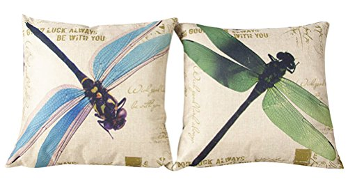 Dragon Pillowcase - ChezMax Set of 2 Cushion Cover Patterned Linen Flax Throw Pillow Case Square Pillowcase Pillowslip For Kid Children Teen Boy Girl Bed Play Room Sofa Chair Seat Back Couch Cartoon Dragonfly