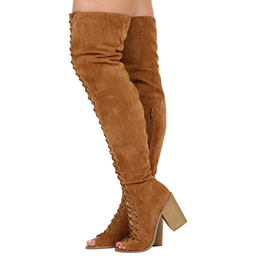 Peeptoe Size Shoes Chunky COLLECTION CORE Ladies Over Boots Heel Womens Suede Knee The Block New HIGH Tan PSwqOS6